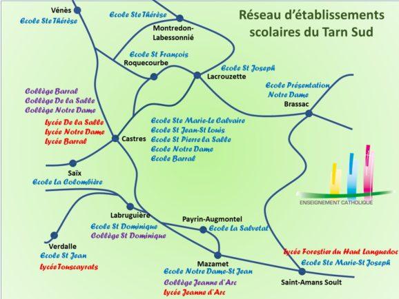 Carte du réseau des établissements scolaires du Tarn Sud